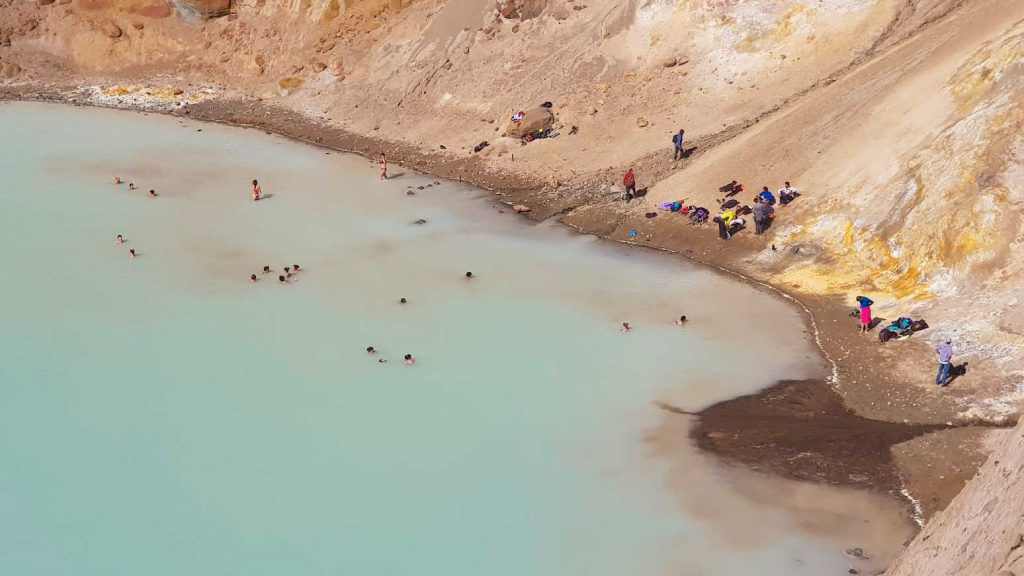 People swimming in Viti crater